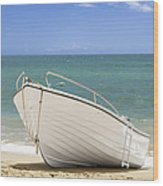 Fishing Boat On The Beach Wood Print