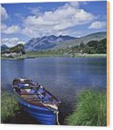Fishing Boat On Upper Lake, Killarney Wood Print