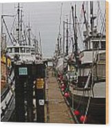 Fishing Boat Walkway Wood Print