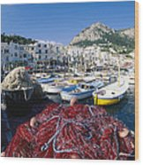 Fishing Boats And Nets In The Marina Wood Print