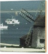 Fishing Boats And Windmill In Chatham On Cape Cod Massachusetts Wood Print