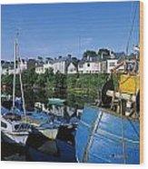 Fishing Boats At A Harbor, Roundstone Wood Print