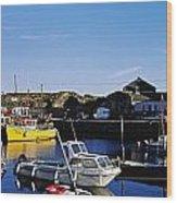 Fishing Boats At A Harbor, Slade Wood Print