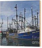 Fishing Boats At Dock Wood Print