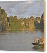 Fishing Boats At Sunset, Halong Bay Wood Print