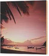 Fishing Boats At Sunset On Mae-haad Wood Print
