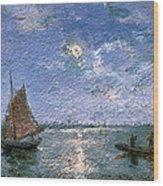 Fishing Boats By Moonlight Wood Print