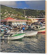 Fishing Boats In Frenchtown Wood Print