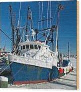 Fishing Boats In Frozen Hyannis Harbor Wood Print