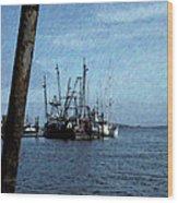 Fishing Boats In Harbor Wood Print