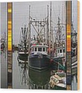 Fishing Boats In Steveston Group Photo Wood Print