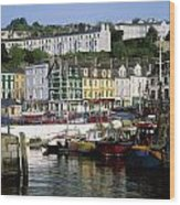 Fishing Boats Moored At A Harbor, Cobh Wood Print