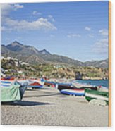 Fishing Boats On A Beach In Spain Wood Print