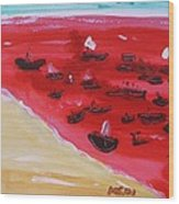 Fishing Boats On A Red Sea Wood Print