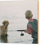 Fishing Boy Wood Print