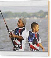 Fishing Brothers Wood Print