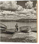 Fishing By The Boats 2 Wood Print by Jack Paolini