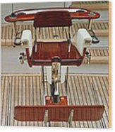 Fishing Chair On A Yacht Wood Print