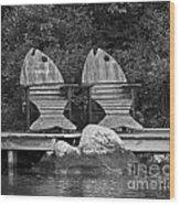 Fishing Chairs Wood Print
