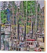 Fishing Docks Hdr Wood Print
