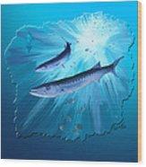 Fishing For Barracuda Wood Print