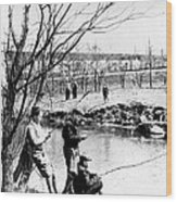 Fishing In The Bronx River,  New York Wood Print