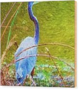 Fishing In The Reeds Wood Print