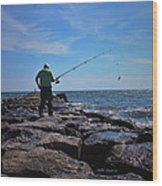 Fishing Off Of The Jetty Wood Print