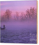 Fishing On The Bow Wood Print by Bob Christopher