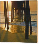 Fishing Pier And Surf II Wood Print