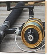 Fishing Rod And Reel . 7d13547 Wood Print