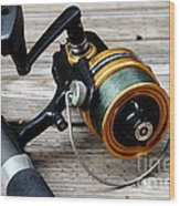 Fishing Rod And Reel . 7d13549 Wood Print