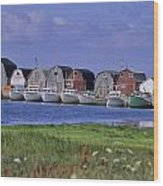 Fishing Shacks Line The Bay At Malpeque Wood Print
