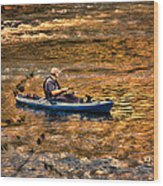 Fishing The Golden Hour Wood Print