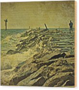 Fishing The Jetty - Island Beach State Park   Nj Wood Print