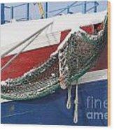 Fishing Vessel In Winter's Rest Wood Print