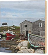 Fishing Village In Nova Scotia Wood Print