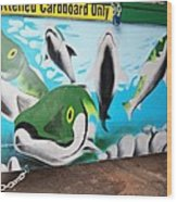 Fishy Dumpster Wood Print