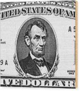 Five Dollar Bill Wood Print