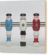 Five Foosball Figurines Wearing Different Uniforms Wood Print