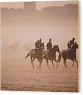 Five People Riding Thoroughbred Horses Wood Print