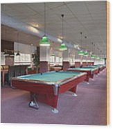 Five Pool Billiards Tables In A Row Wood Print