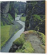 Fjardara Canyon Wood Print