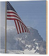 Flag And The Mountain Wood Print