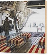 Flag Draped Coffins Of Five Us Soldiers Wood Print