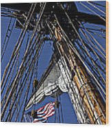 Flag In The Rigging Wood Print