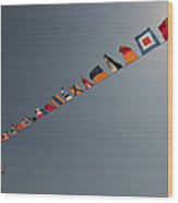 Flags Fly Over The Deck Of The Uss Iwo Wood Print