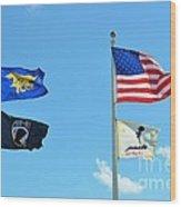 Flags Flying High Wood Print