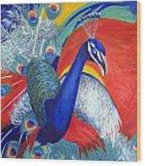 Flamboyant Peacock Wood Print