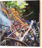 Flame Wood Print by Alessandro Della Pietra